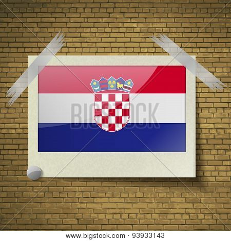 Flags Croatia At Frame On A Brick Background. Vector