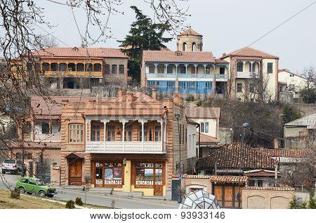 Telavi,Ge-Feb,28 2015:Houses with carved balconies in Telavi - the center of Kakheti, Georgia