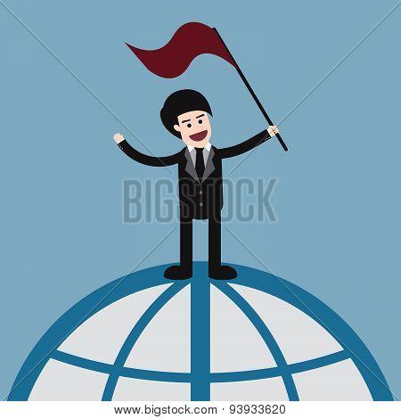 Success Businessman On World