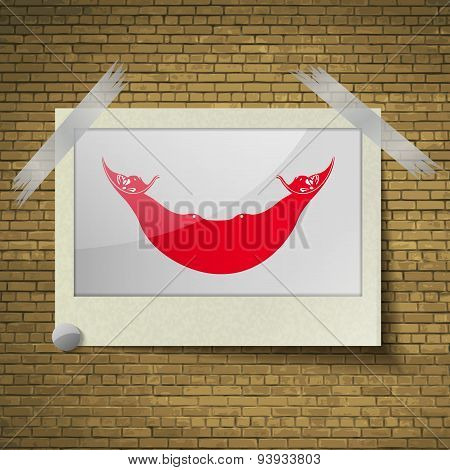 Flags Eaaster Rapa Nui At Frame On A Brick Background. Vector