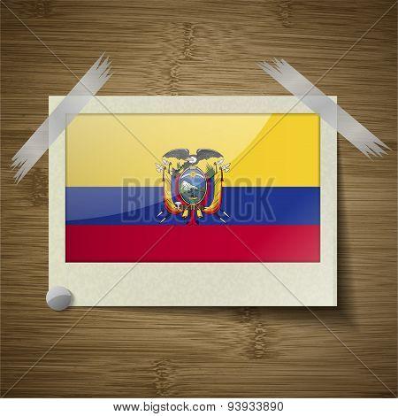 Flags Ecuador At Frame On Wooden Texture. Vector