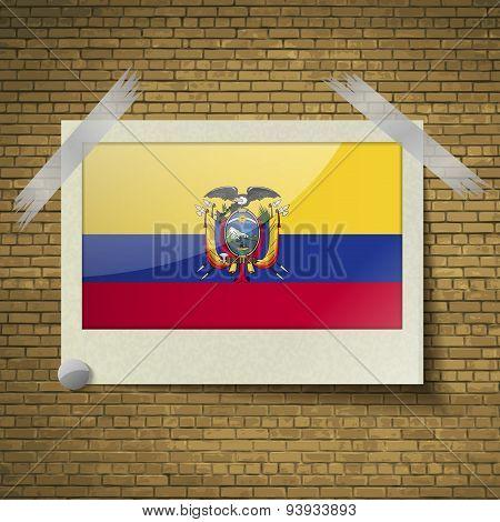 Flags Ecuador At Frame On A Brick Background. Vector