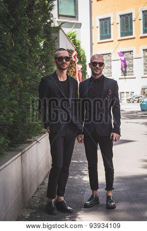 People Outside Armani Fashion Show Building For Milan Men's Fashion Week