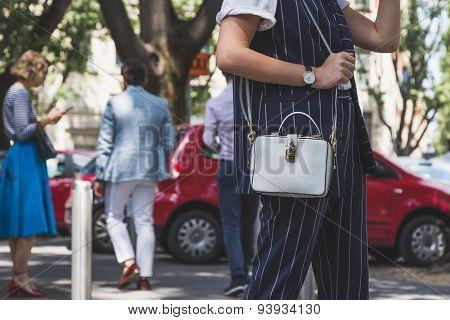 Detail Of Bag Outside Armani Fashion Show Building For Milan Men's Fashion Week