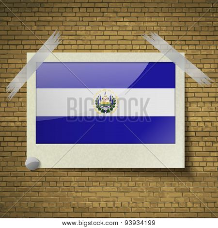 Flags El Salvador At Frame On A Brick Background. Vector