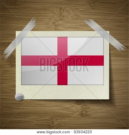Flags England At Frame On Wooden Texture. Vector