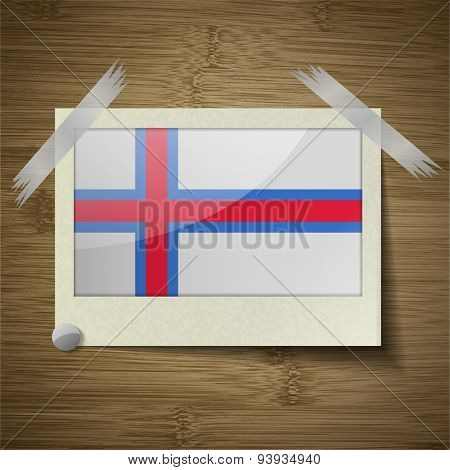 Flags Faroe Islands At Frame On Wooden Texture. Vector
