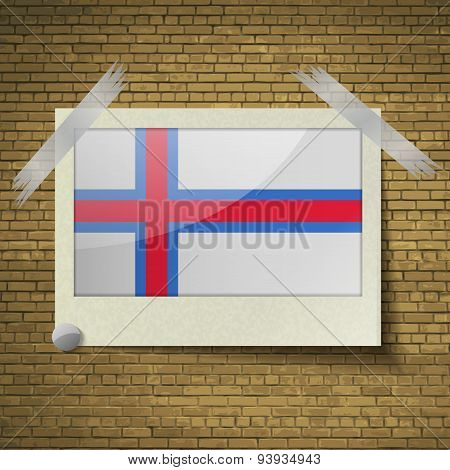 Flags Faroe Islands At Frame On A Brick Background. Vector