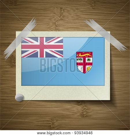 Flags Fiji At Frame On Wooden Texture. Vector