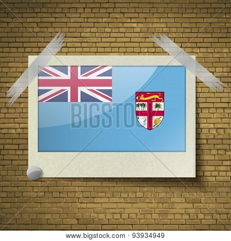 Flags Fiji At Frame On A Brick Background. Vector