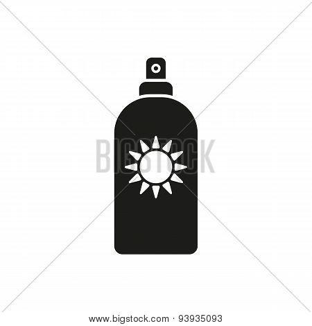 The Sun Cream Icon. Sunscreen Symbol. Flat