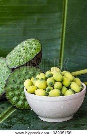 Lotus Seed On Banana Leaf