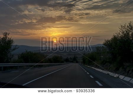 Interesting mountain  road at sunset