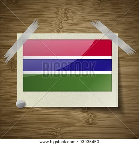 Flags Gambia At Frame On Wooden Texture. Vector