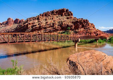 The Colorado Riverway Bridge in Moab Utah