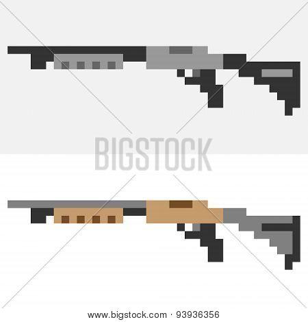 illustration pixel art icon shotgun
