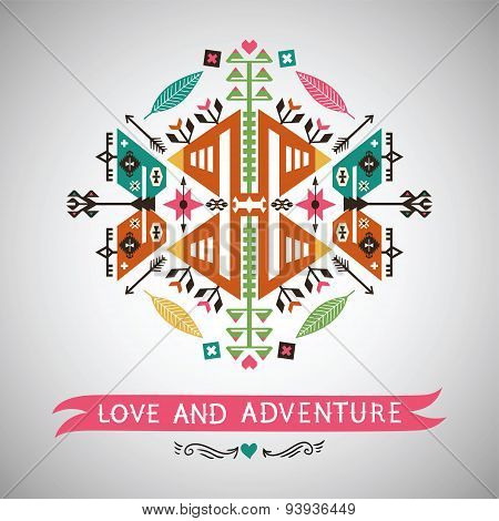 Vector colorful decorative element on native ethnic style