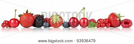 Berry Fruits Border Strawberry Raspberry, Cherries In A Row