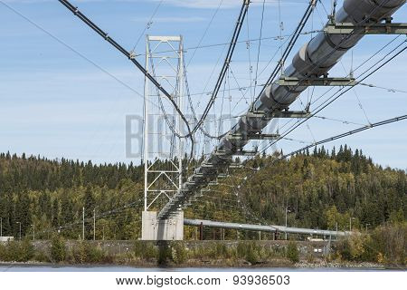 Alaska, September 9, 2013: Trans Alaska oil pipeline, crossing over a river near Fairbanks, Alaska