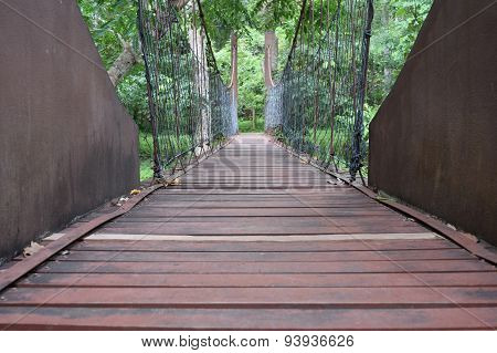 crossing rope bridge in the forest jungle