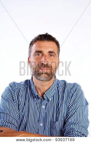 beard mid age man portrait shirt businessman crossed arms on white background