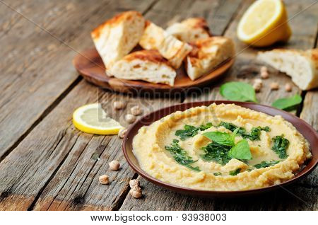 Lemon Hummus With Basil Dressing