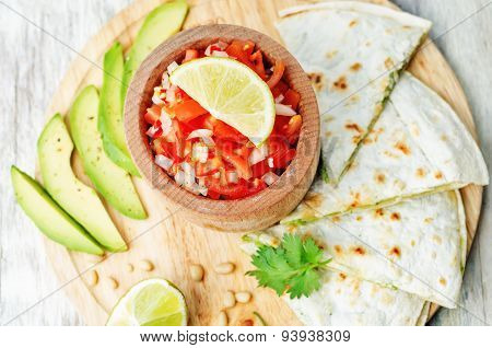 Tomato Salsa, Pico De Gallo, With Cilantro Pesto Quesadilla