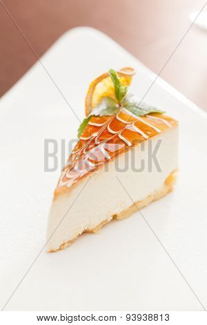 cheesecake with orange and mint