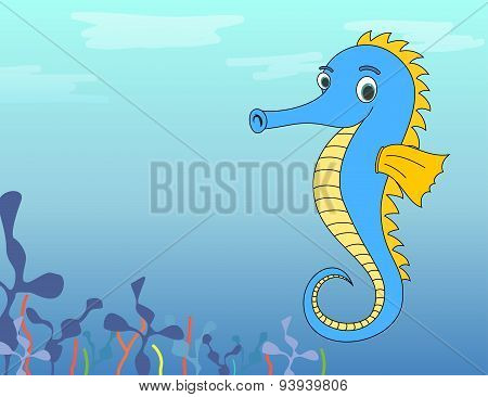 Cute cartoon seahorse in ocean