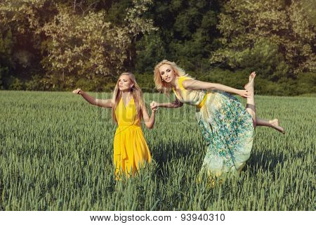 Two Girls In The Field.