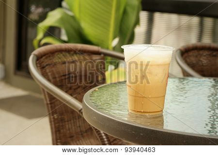 Iced Coffee On Table At Coffee Shop.