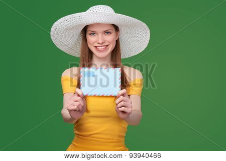 Woman with blank envelope