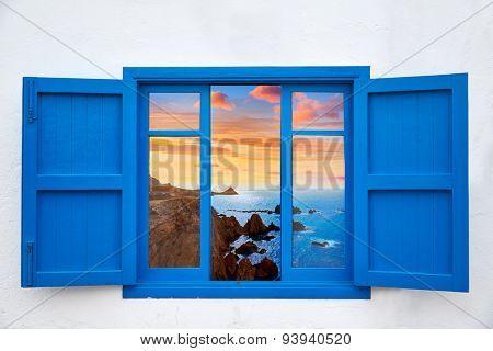 Almeria view from blue window of Cabo de Gata photo mount