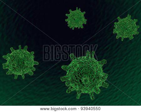 3d green biological cells