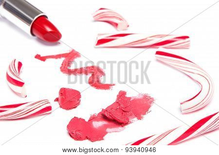 Bright Red Lipstick With Crushed Christmas Candy
