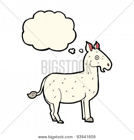 cartoon mule with thought bubble