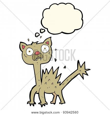 cartoon scared cat with thought bubble