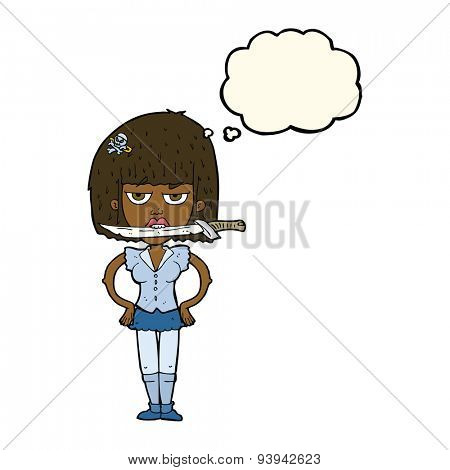 cartoon woman with knife between teeth with thought bubble