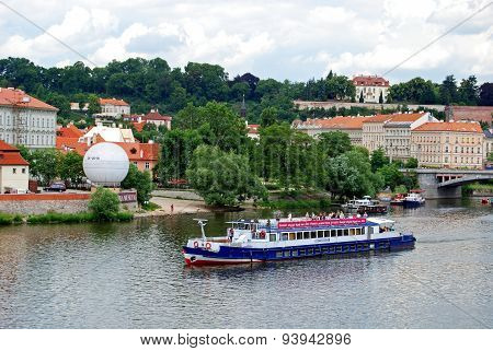 Boat on Vltava River, Prague.