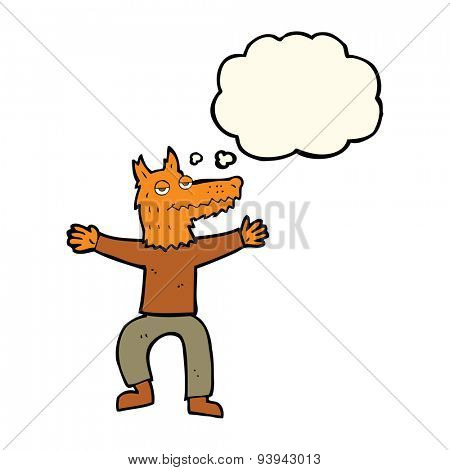 cartoon fox man with thought bubble