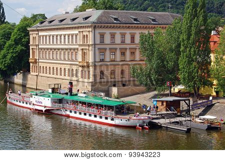 Riberboat and building, Prague.