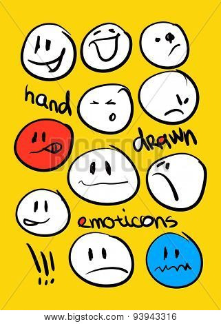 Hand drawn emoticons. Vector illustration.