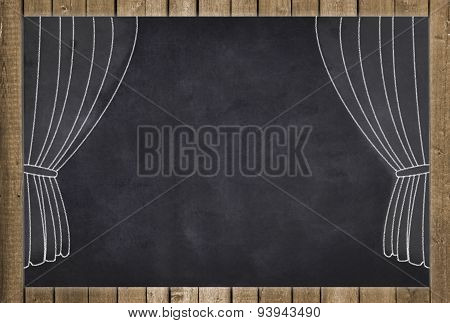 stage curtain drawing on chalkboard