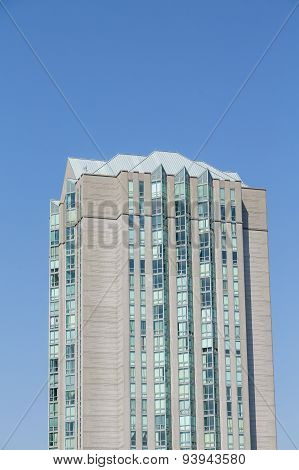 Condo Tower On Blue With Angled Windows