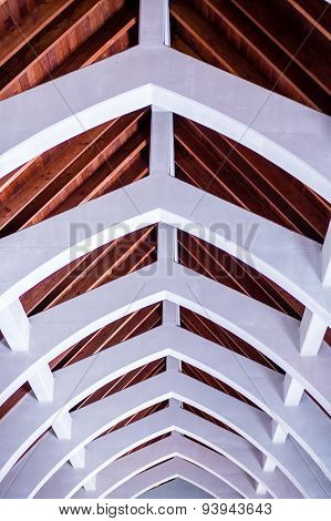 Stone Arches Under Wood Beam Roof