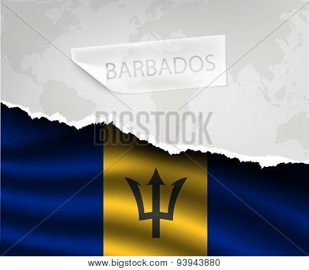 Paper With Hole And Shadows Barbados Flag
