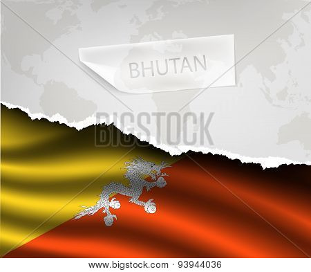 Paper With Hole And Shadows Bhutan Flag