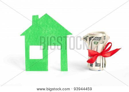 Roll of dollar with home model