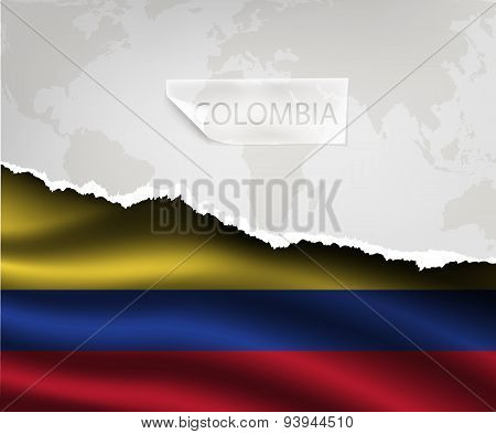 Paper With Hole And Shadows Colombia Flag