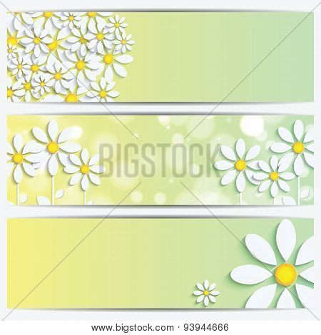 Set Of Spring And Summer Banners With White Flowers